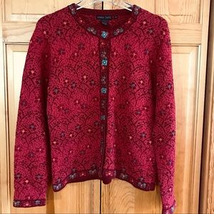 Nomadic Traders Red Floral Cotton Cardigan Sweater